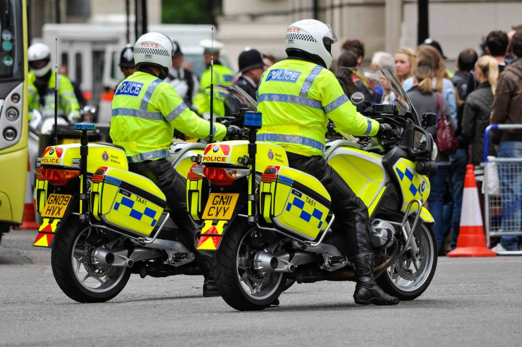 Pair of police motorcycles