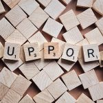 Scrabble pieces spelling the word Support