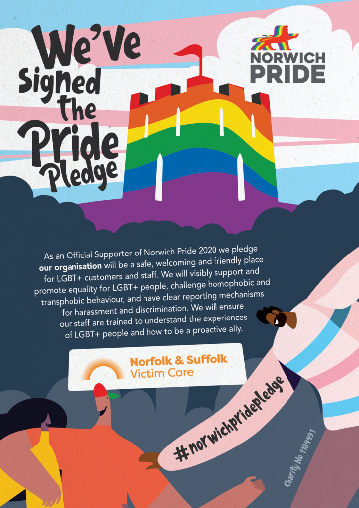 Norwich Pride Graphic with rainbow castle and trans logo